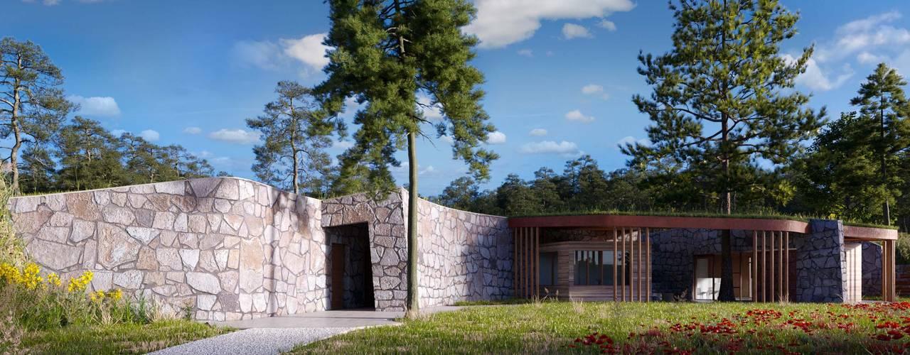 Camping en Teruel (anteproyecto).: Bungalows de estilo  de Bau Arquitectura Tarragona,