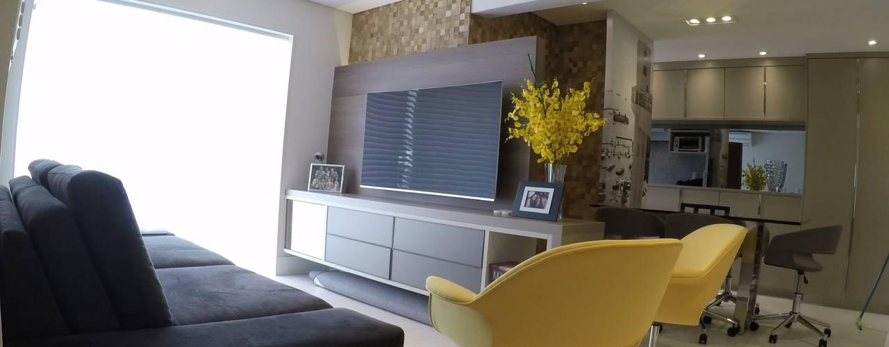 REFORMA APARTAMENTO ALTO PADRÃO | MOEMA | 76 M²: Salas de estar  por ABBITÁ arquitetura,Moderno