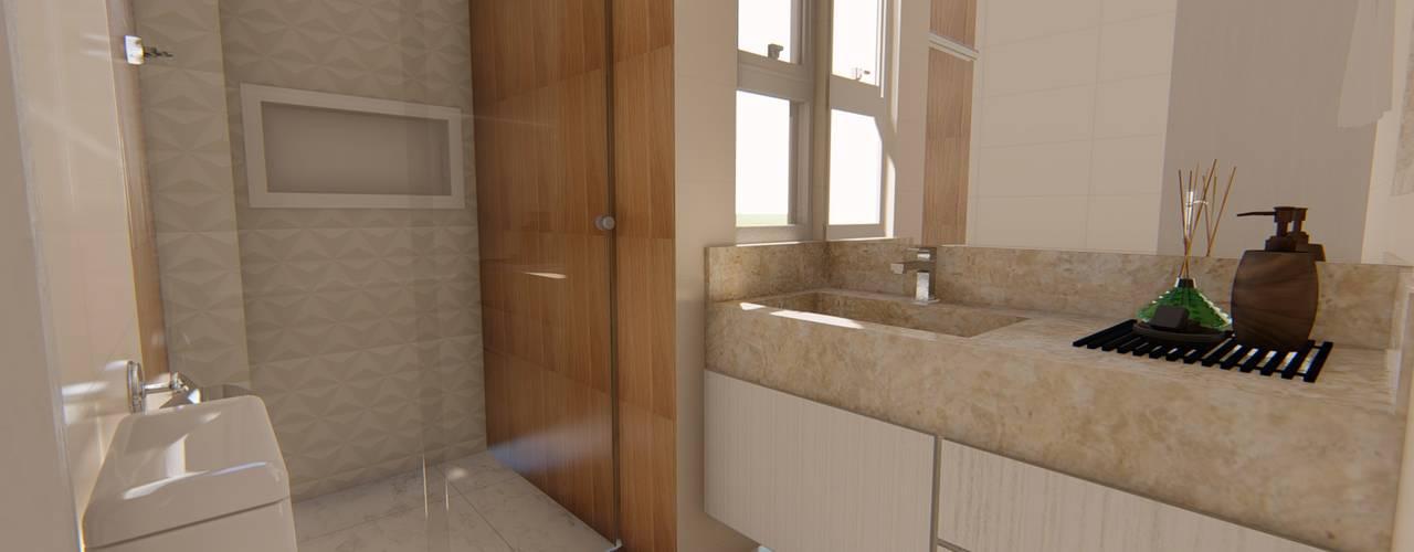 Apartamento Moderno: Banheiros  por Fark Arquitetura e Design,