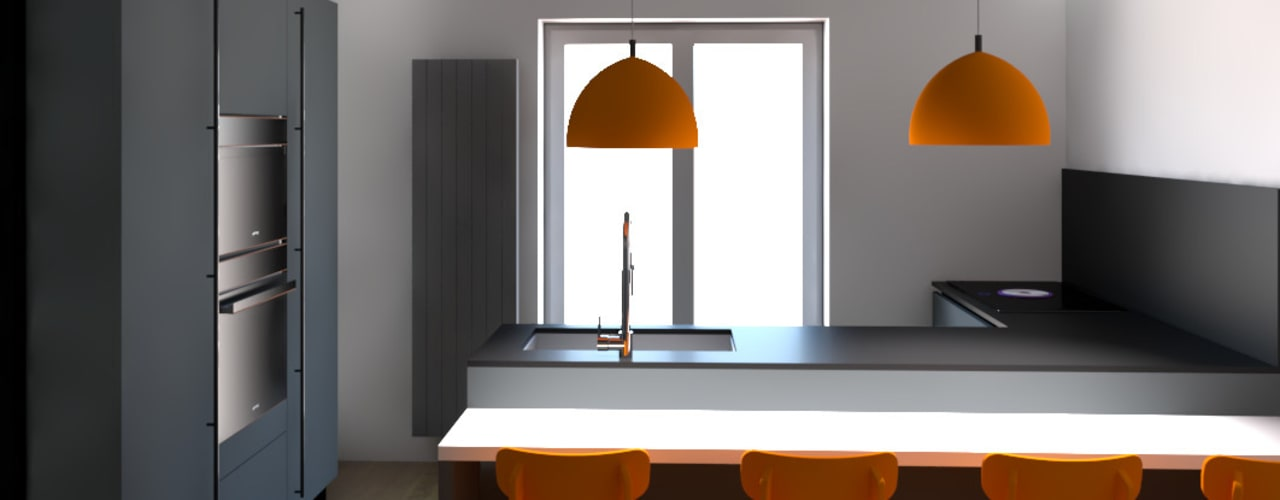 OPEN SPACE: Cucina attrezzata in stile  di G&S INTERIOR DESIGN, Moderno