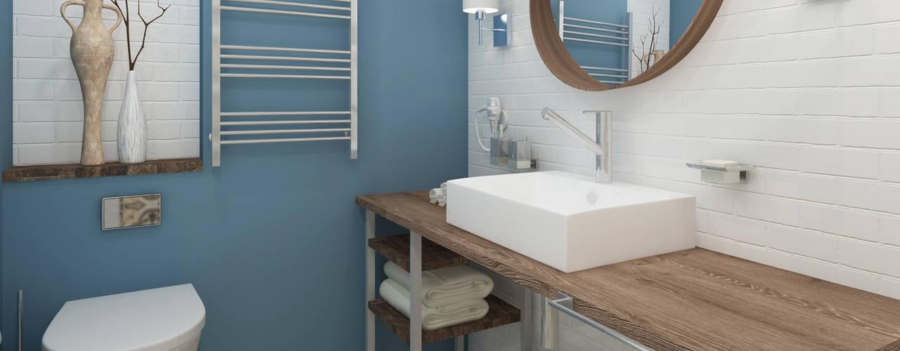 ДИЗАЙН-ПРОЕКТ КВАРТИРЫ-СТУДИИ Ванная комната в эклектичном стиле от Locos Эклектичный