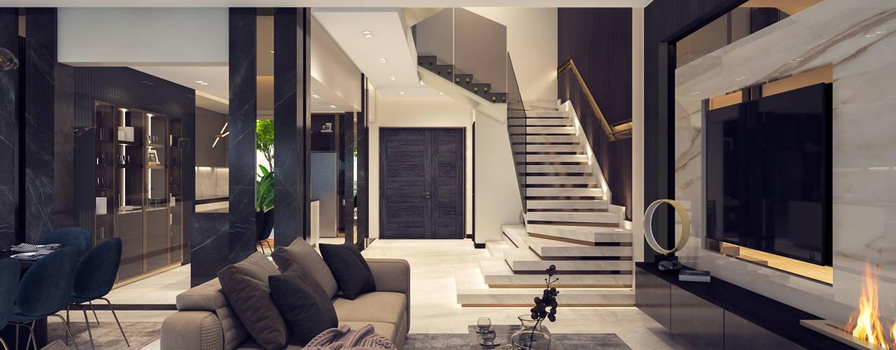 :  غرفة المعيشة تنفيذ ICONIC DESIGN STUDIO,