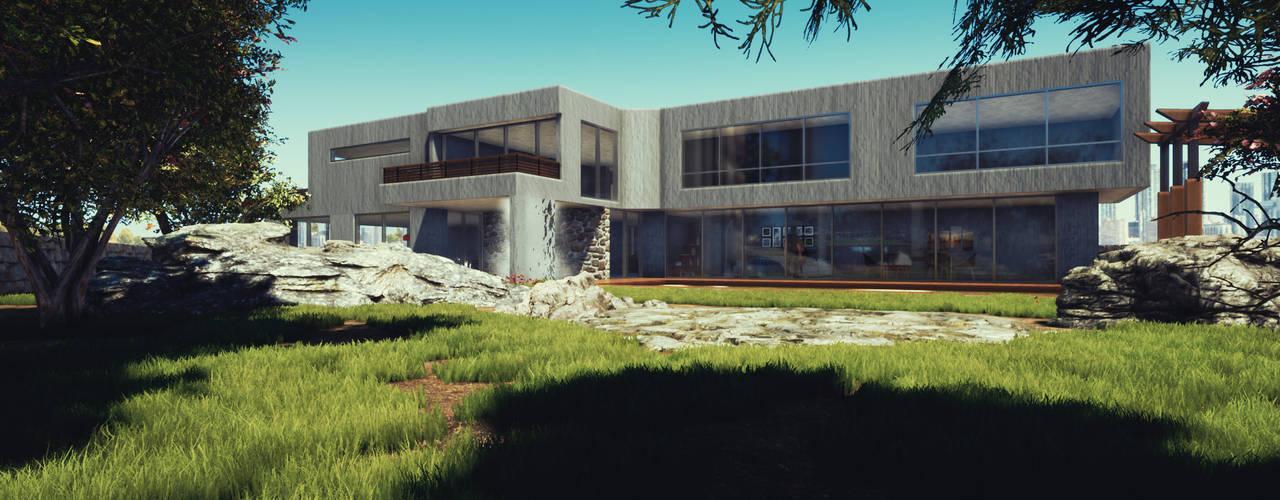CASA HECAR, Diseño Arquitectura y Visualización 3D interior. Casas estilo moderno: ideas, arquitectura e imágenes de CR.3D Modeling & Rendering Moderno