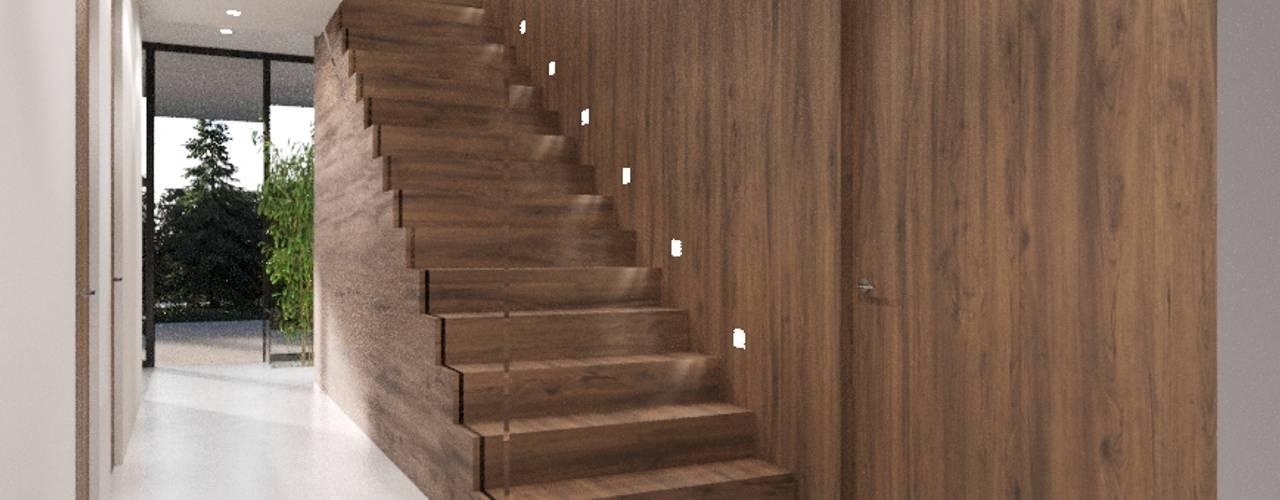 Moradia Unifamiliar, Vila Franca de Xira Corredores, halls e escadas modernos por Nuno Ladeiro, Arquitetura e Design Moderno
