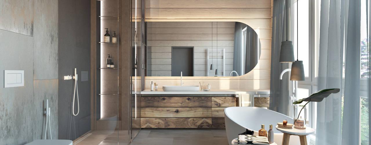 Загородный дом в Подмосковье Suiten7 Ванная комната в скандинавском стиле Дерево Бежевый
