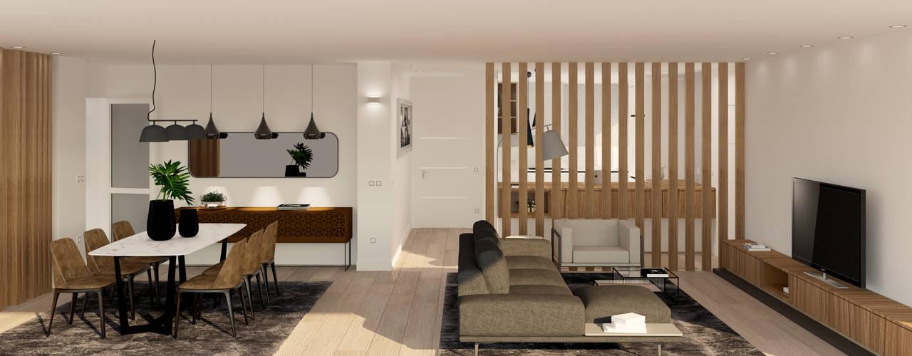 Reforma y decoración estilo minimalista de un piso en Gijón arQmonia estudio, Arquitectos de interior, Asturias Salones de estilo moderno