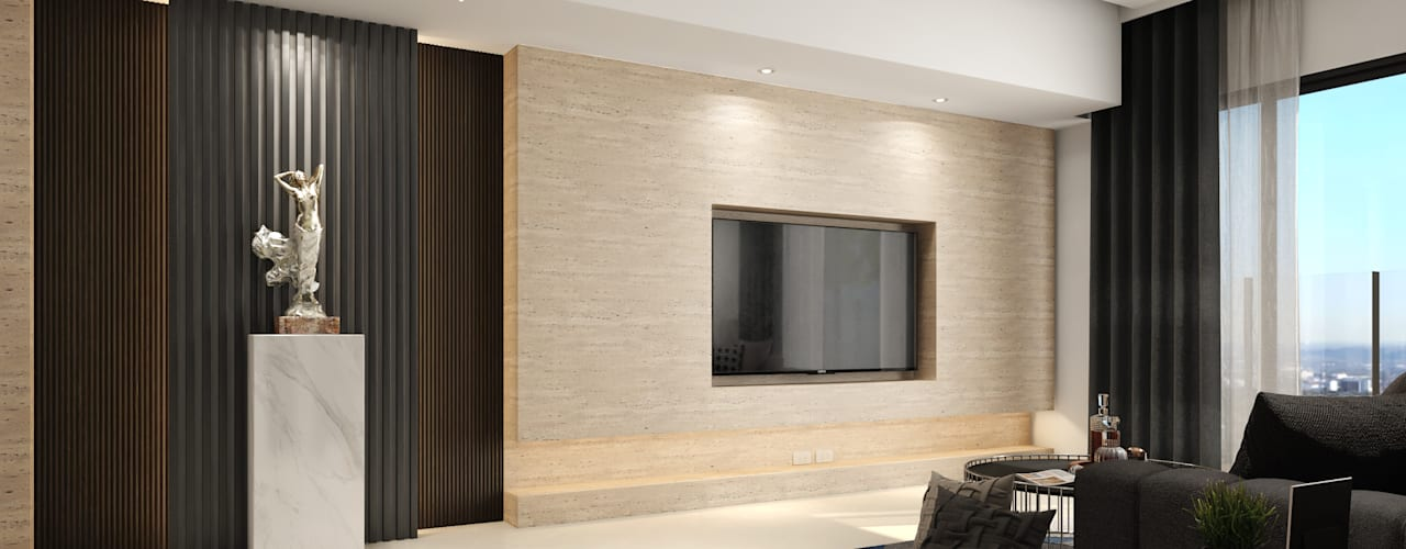 允將大有:  客廳 by 木博士團隊/動念室內設計制作, 現代風