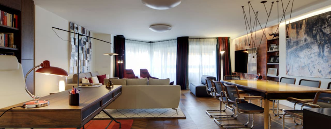 Proyecto de reforma integral, interiorismo y decoración de amplia vivienda en Valladolid Salones de estilo ecléctico de MEDITERRANEAN FUSION S.L. Ecléctico