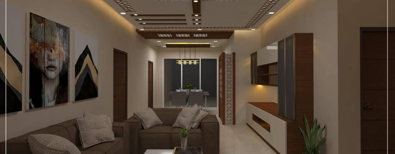 3 BHK Interiors For Mr Dileep :  Living room by Vadhia Interiors Pvt Ltd,Modern