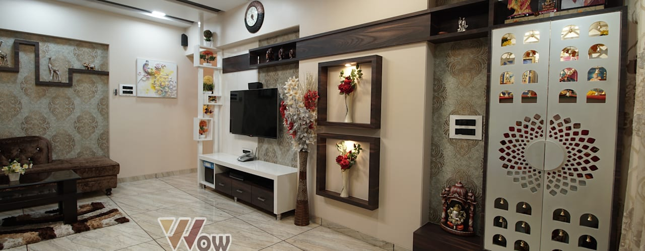 Shekhar Salunkhe - 3BHK @ Mumbai Modern living room by Wow Homz Modern