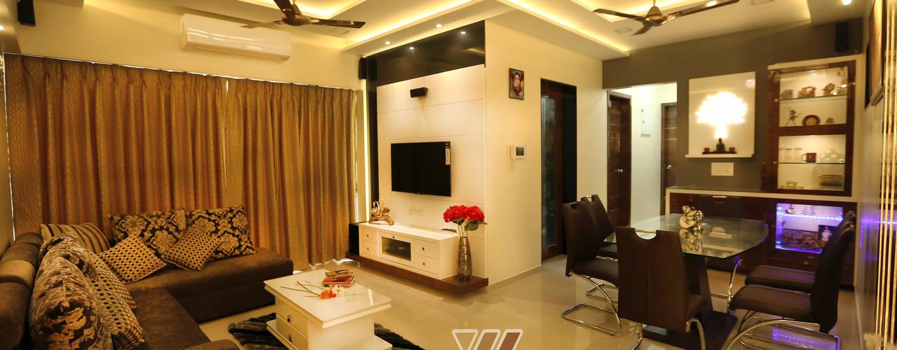 Nilesh Darjee - 2BHK @ Mumbai :  Living room by Wow Homz,