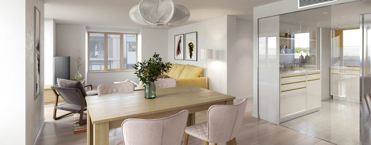Proyecto de reforma de 4 unidades residenciales. Comedores de estilo moderno de Bau Arquitectura Tarragona Moderno