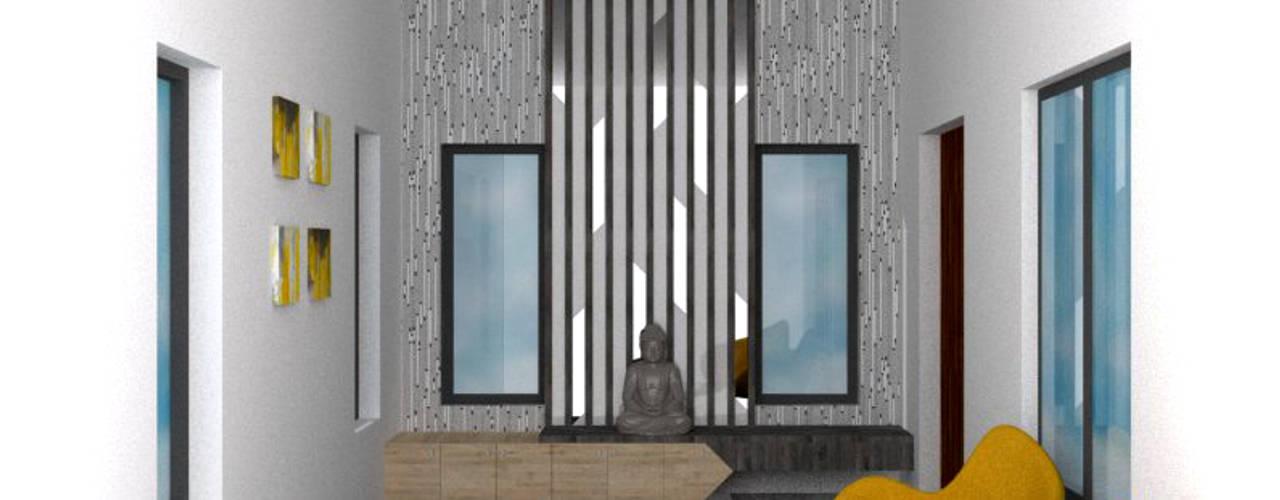 Mrs. Nirmala Residence @ Coimbatore:  Corridor & hallway by Olive Architecture Studio,