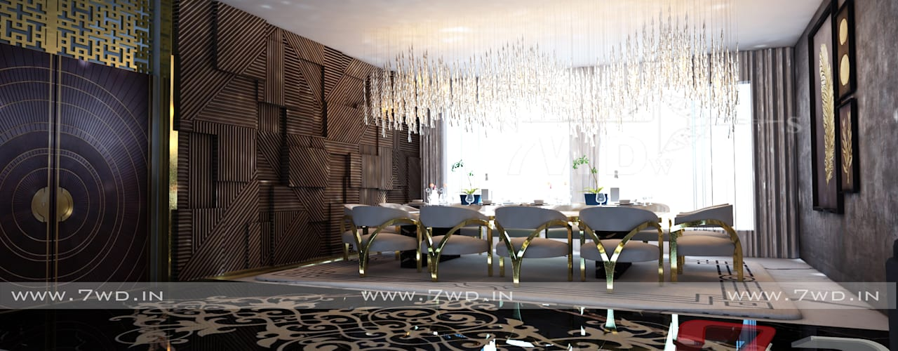 Gold Luxe Interior 7WD Design Studio Modern dining room Wood effect