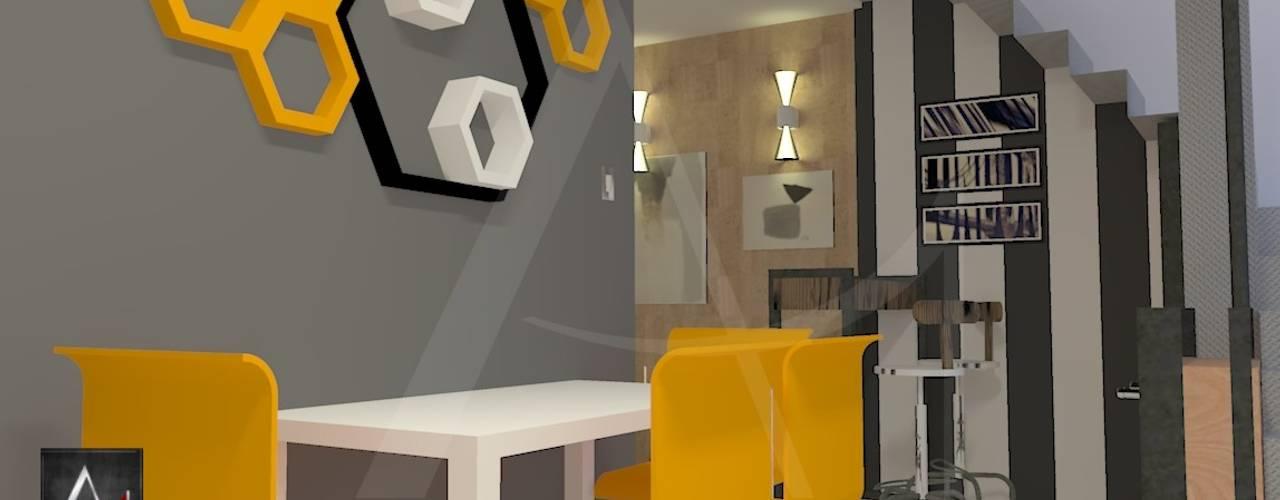 Cozinha Moderna BCA com toque retrô: Cozinhas  por Anny Maciel Interiores - Casa Cor de Riso,Moderno