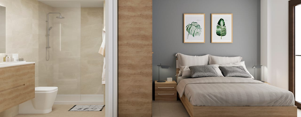 Infografías viviendas: Dormitorios pequeños de estilo  de Ardis3d Proyectos y diseños SL, Moderno
