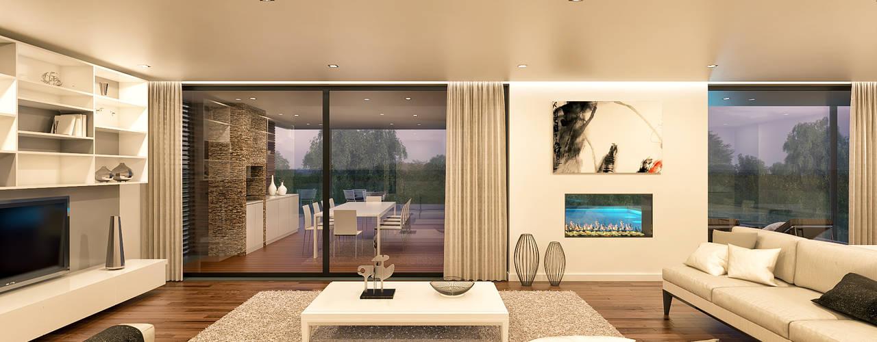 CASA CS1- Moradia em Cascais - Projeto de Arquitetura Salas de estar modernas por Traçado Regulador. Lda Moderno