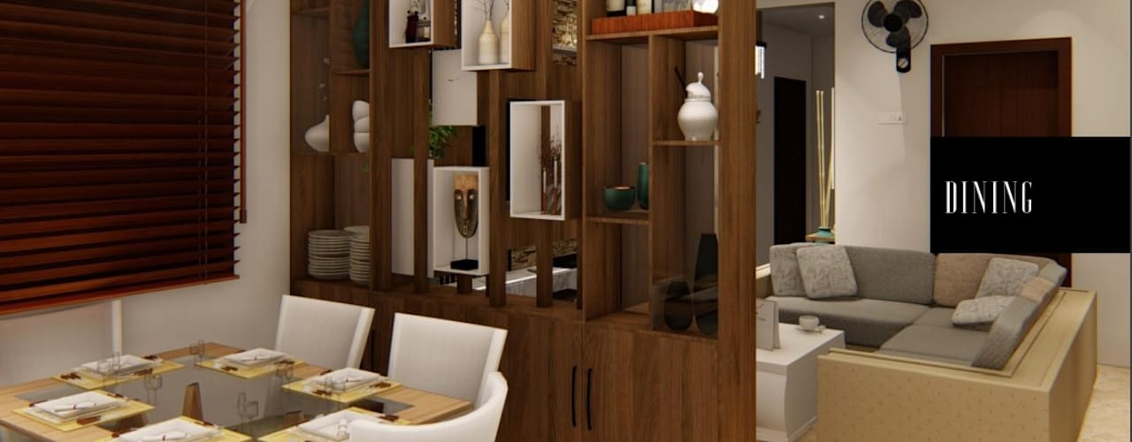 LUXURY 3 BHK APARTMENT INTERIORS AT CHENNAI Modern dining room by Aikaa Designs Modern
