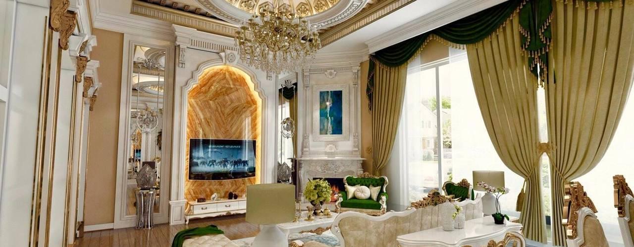 Decorvita mimarlık Classic style living room Amber/Gold