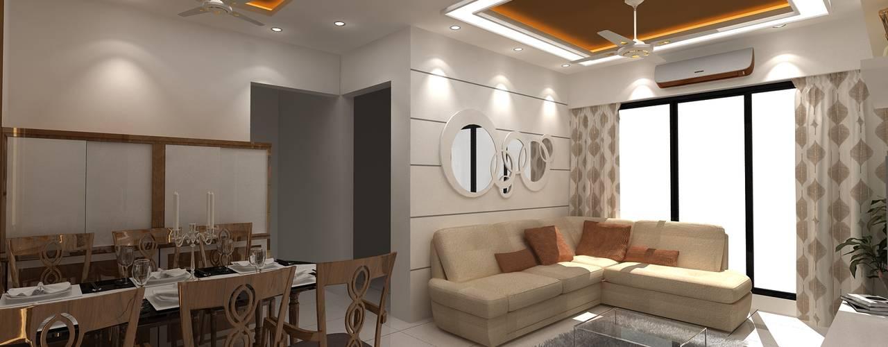 SEEMA PARENTS ROOM ( 2 BHK ) Modern living room by Clickhomz Modern