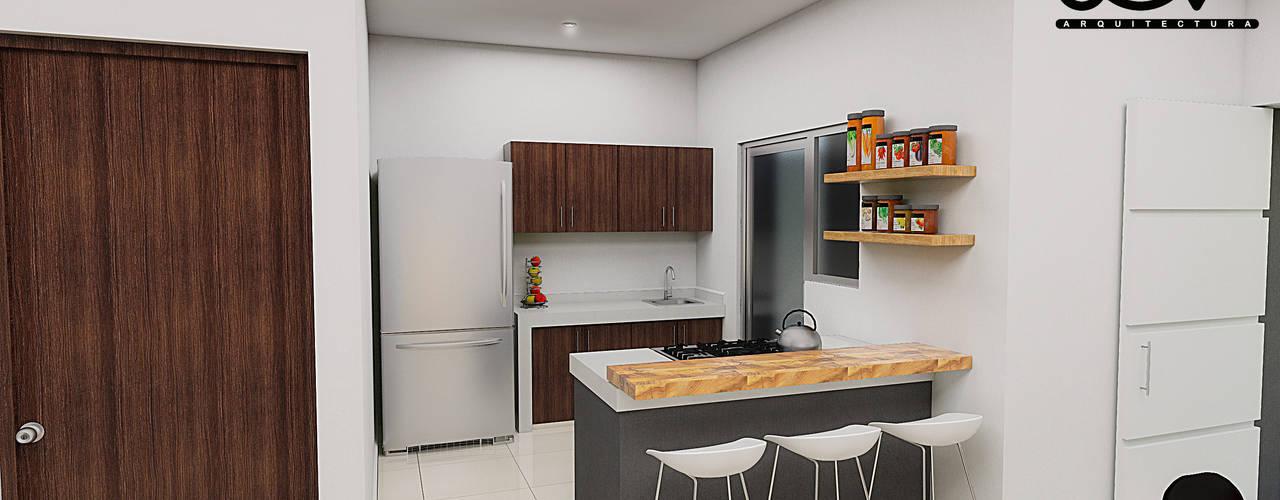 Casa Jardines de Tecoman: Cocinas pequeñas de estilo  por JGV Arquitectura,