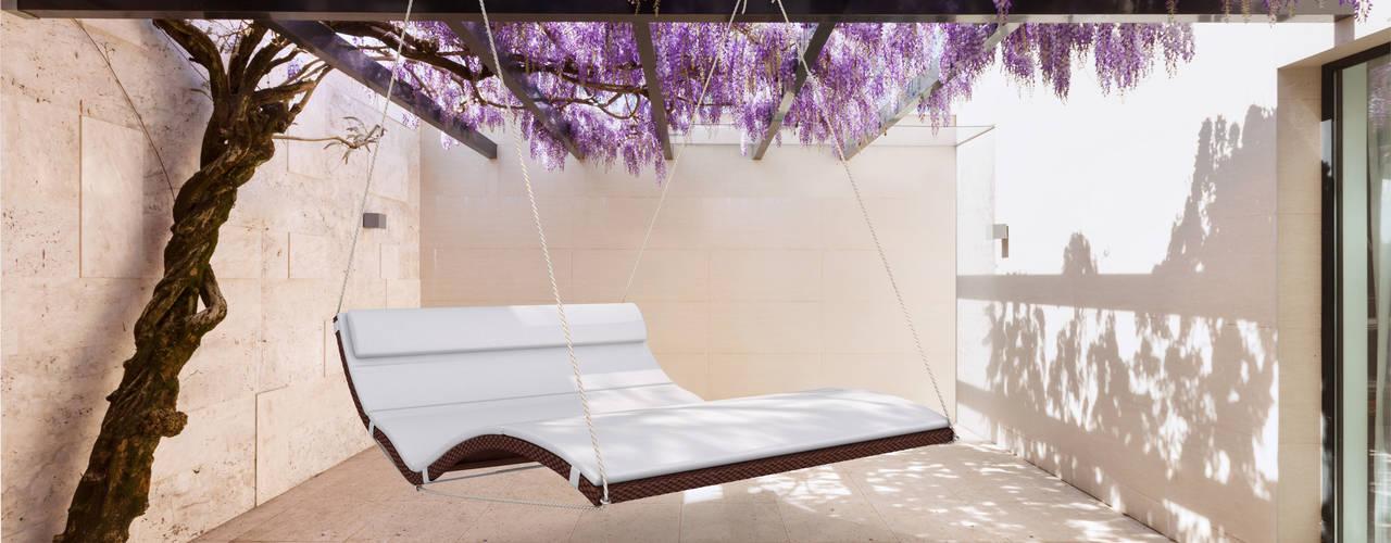 Schwebeliege für Wellnessbereich und Ruhebereich Minimalistischer Balkon, Veranda & Terrasse von faktor holz Minimalistisch