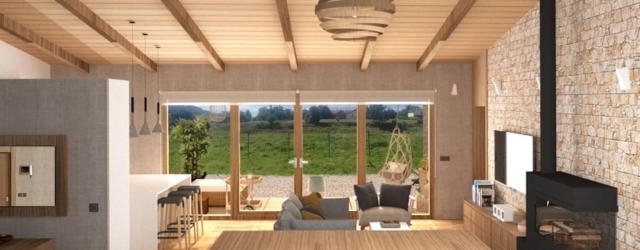 Diseño de una vivienda Unifamiliar de nueva construcción en Cabueñes, Gijón (Proyecto en construcción) Salones de estilo mediterráneo de arQmonia estudio, Arquitectos de interior, Asturias Mediterráneo