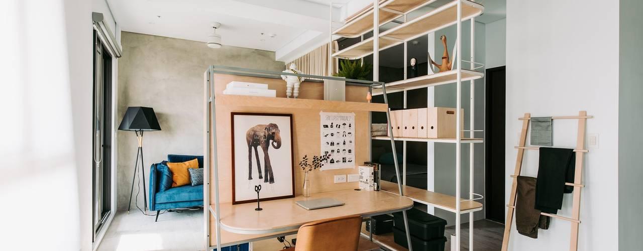 MSBT 幔室布緹 北欧デザインの 書斎 無垢材 ブラウン