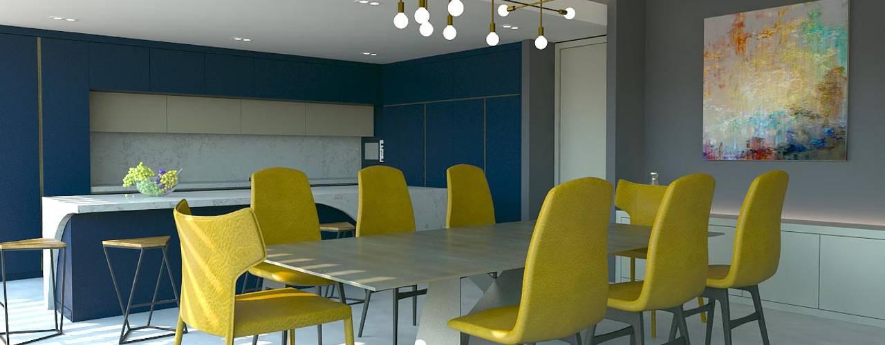 KALYA İÇ MİMARLIK \ KALYA INTERIOR DESIGN – Güney Afrika'da Bir Villa Projesi:  tarz Yemek Odası, Modern