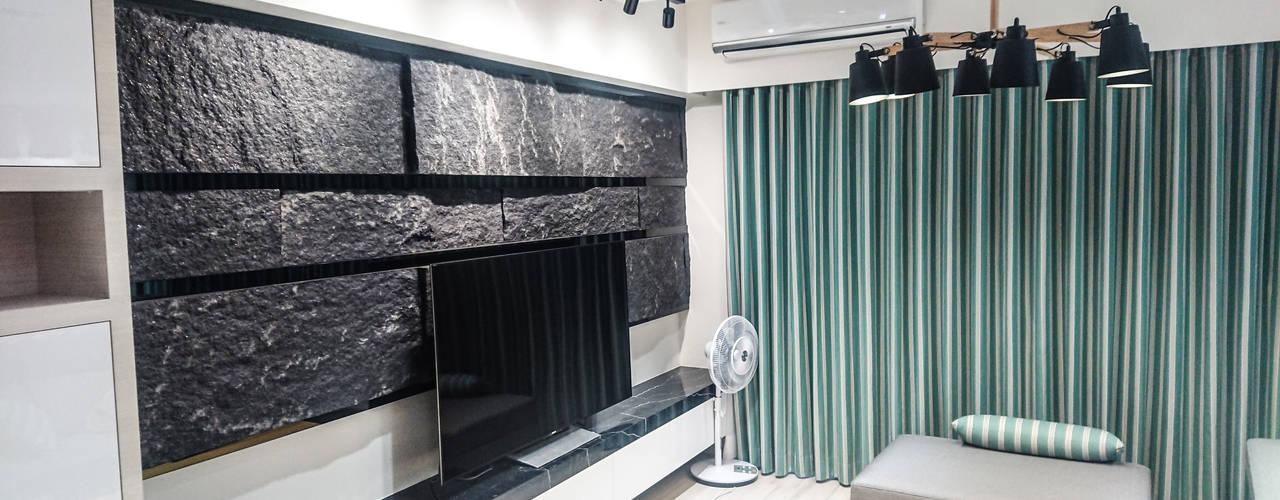 現代混搭風水宅:  客廳 by 大吉利室內裝修設計工程有限公司, 現代風