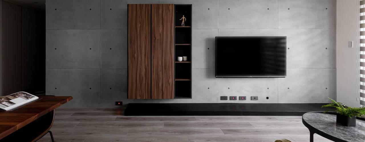 沉蘊.竹北L宅 極簡室內設計 Simple Design Studio 现代客厅設計點子、靈感 & 圖片 Grey