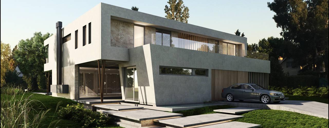 Casa Moderna Balcony Casas modernas: Ideas, imágenes y decoración de Maximiliano Lago Arquitectura - Estudio Azteca Moderno