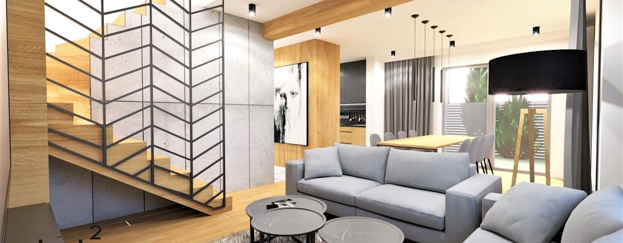 Industrial style living room by Wkwadrat Architekt Wnętrz Toruń Industrial