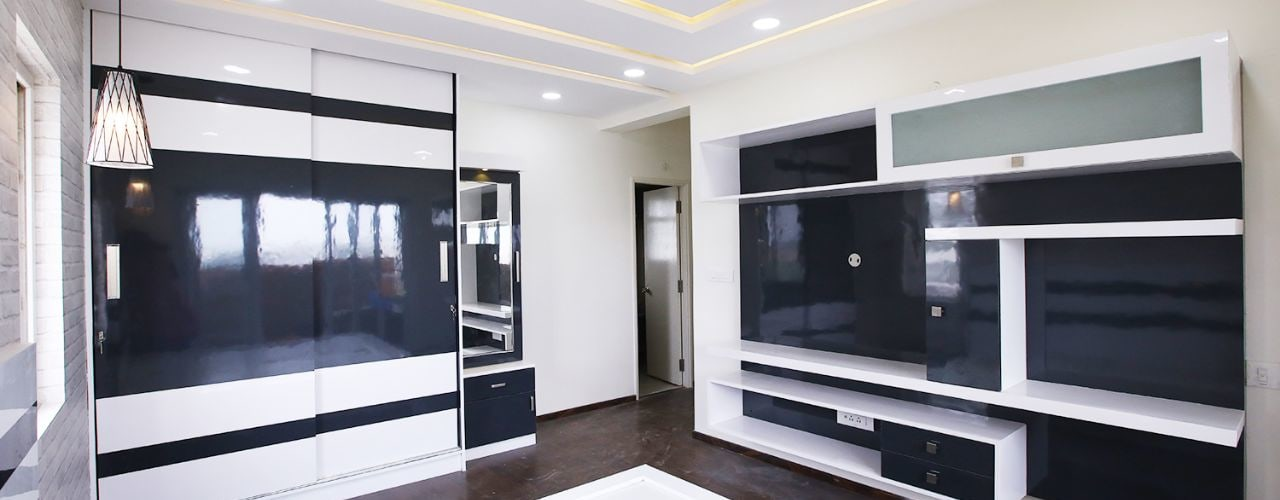 3BHK Residential Interiors at Mantri Serene Modern style bedroom by Interios by MK Design Modern