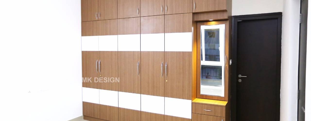 3BHK Residential Interiors at Prestige Bella Vista, Chennai Modern style bedroom by Interios by MK Design Modern
