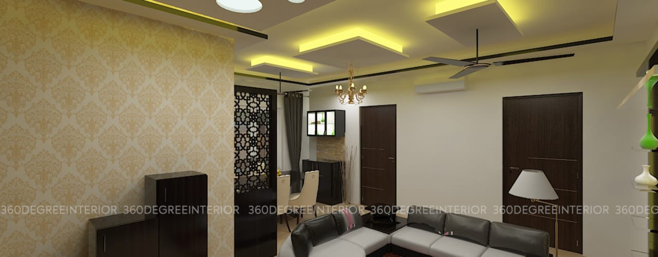 Turnkey Interior - Mr Nasar gouse :  Living room by 360 Degree Interior,Modern