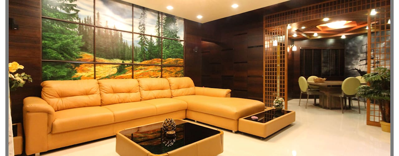 Elegant interior for 2 BHK Flat in Supreme Green Wood NIBM Pune Classic style living room by AARAYISHH Classic