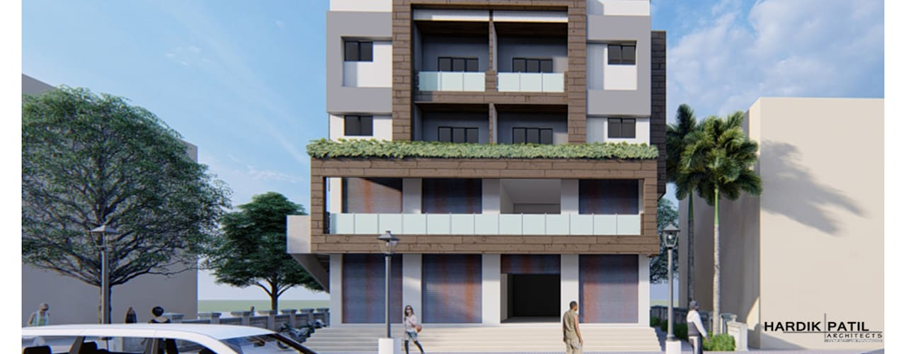 COMMERCIAL+RESIDENTIAL APARTMENT:  Multi-Family house by HARDIK PATIL ARCHITECTS,Modern
