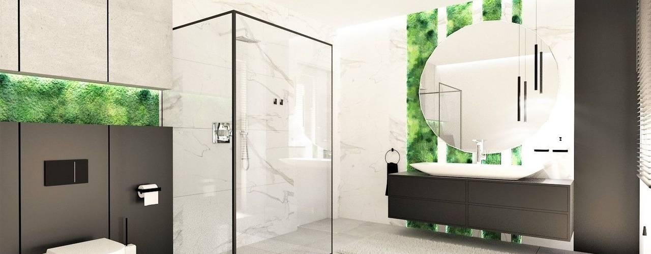Łazienka na poddaszu Nowoczesna łazienka od Wkwadrat Architekt Wnętrz Toruń Nowoczesny