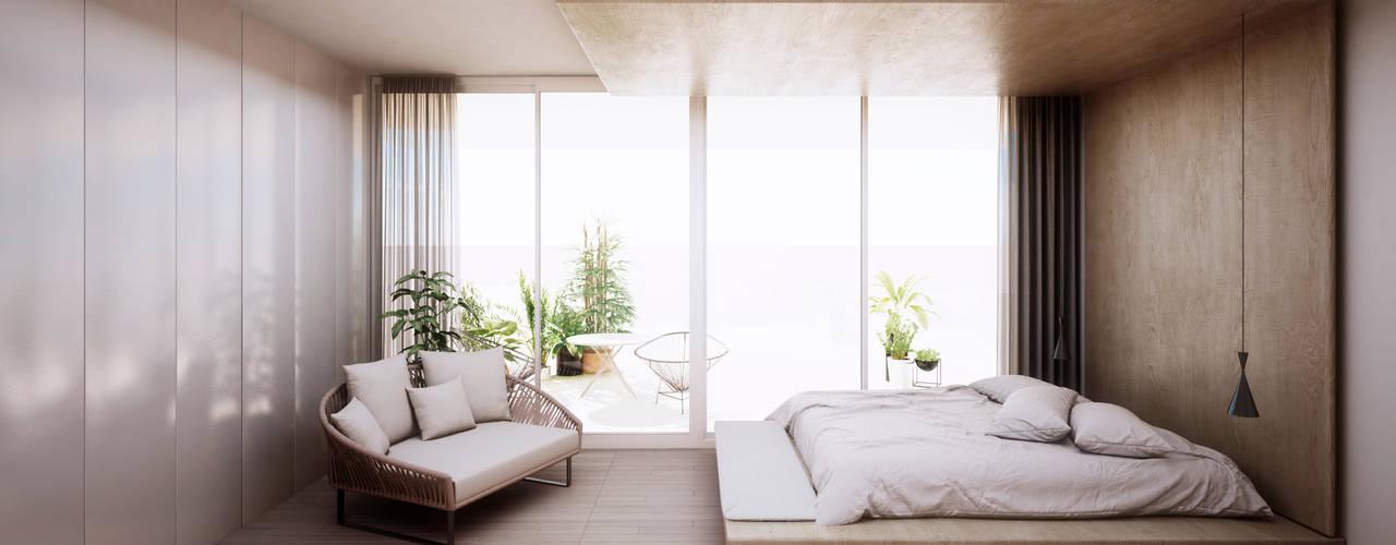 Vivienda a orillas del Mediterráneo S-AART Dormitorios de estilo minimalista