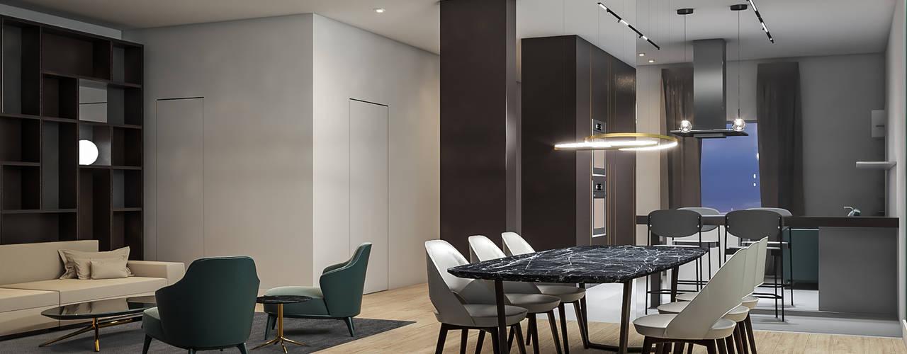 Villa DC Aeon Studio Soggiorno minimalista Vetro Verde
