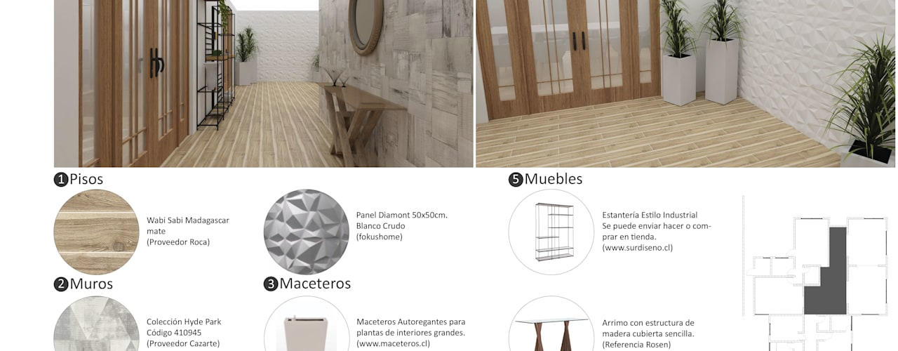 Diseño Interior Casa: Pasillos y hall de entrada de estilo  por ARQD spa, Escandinavo