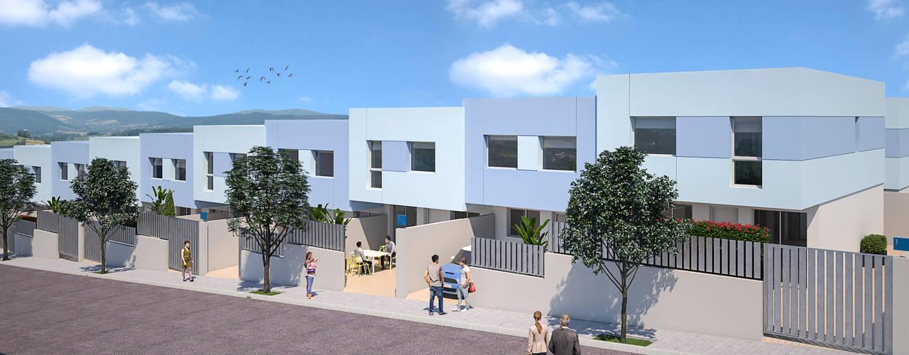 DISEÑO Y CONSTRUCCIÓN DE 6 ADOSADOS EN ASPE de ARQUIJOVEN SLP Moderno