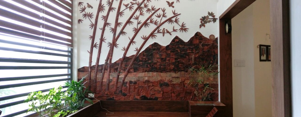 Terracotta murals on wall Rustic style corridor, hallway & stairs by Yuvarti Craft Rustic