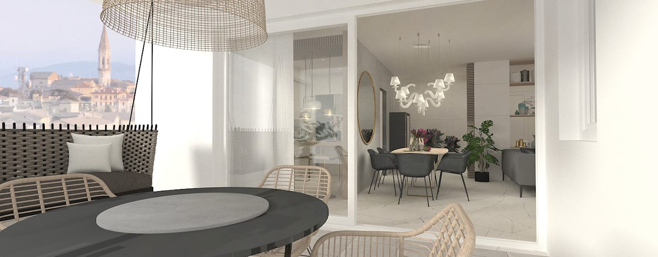 Casa di Amanda: Terrazza in stile  di serenascaioli_progettidinterni, Moderno