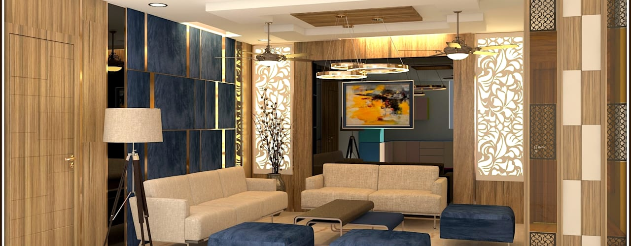 200Sqmt Residence Inception Design Cell Modern living room Solid Wood Wood effect