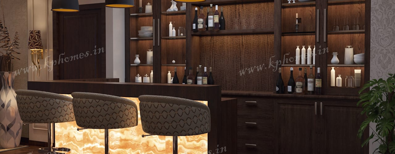 Luxury Apartment - Bar and Lounge Room Colonial style wine cellar by Kphomes Colonial