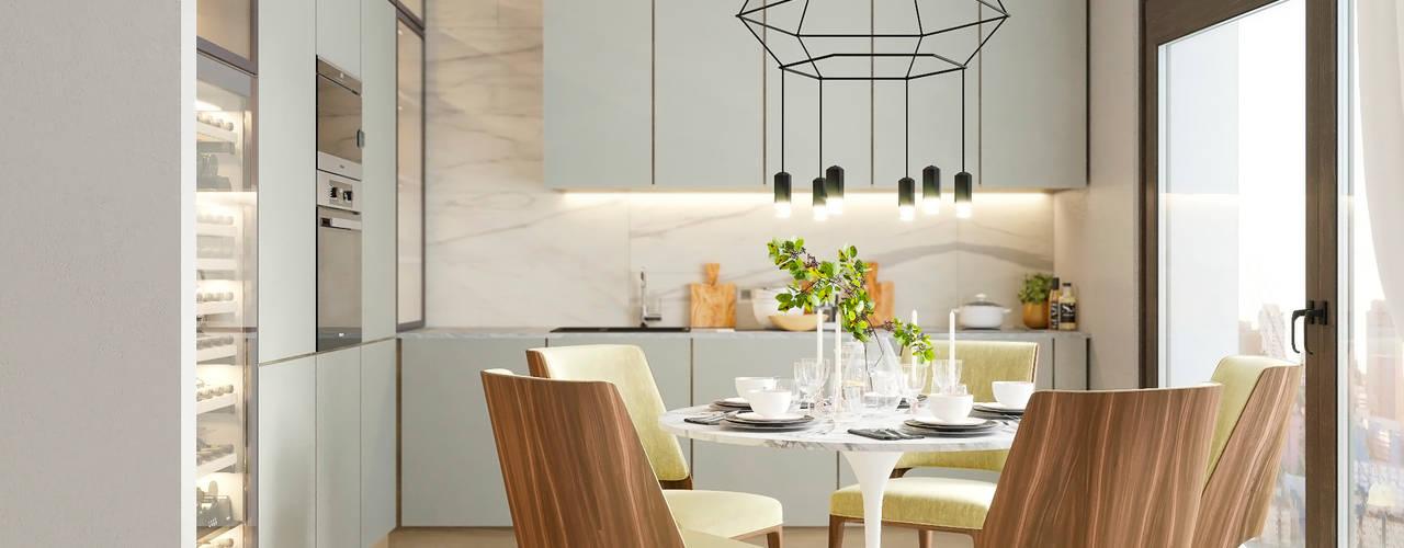 Визуализация кухни-гостиной в Москве Кухни в эклектичном стиле от Глинкина Ирина Эклектичный
