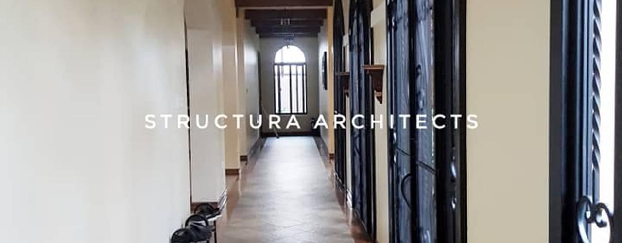 Rustic Mediterranean Home in Alabang Mediterranean corridor, hallway & stairs by Structura Architects Mediterranean