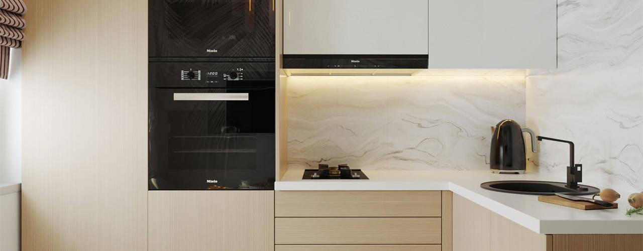 Эргономика и лаконичность: дизайн 3-комнатной квартиры в современном стиле Архитектурное бюро «Парижские интерьеры» Кухни в эклектичном стиле